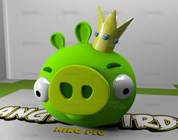 low-poly King Pig - Angry Birds 3D Model