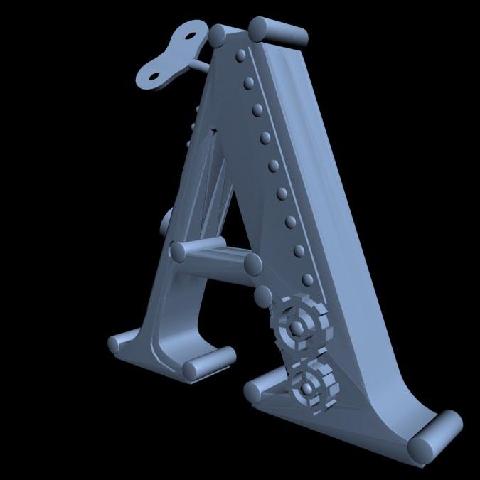 print ready steampunk alphabet bookend let    free 3d