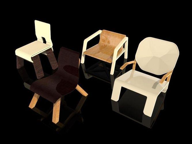 Wooden Furniture V1 Free 3d Model Obj