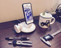 gearhead iphone dock working spiral bevel gear 3d printable model