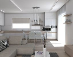 3D model room architectural Living Room