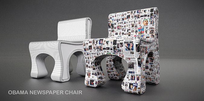 obama news chair 3d model obj dae skp 1