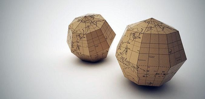 paper globe 3d model obj dae skp mtl 1
