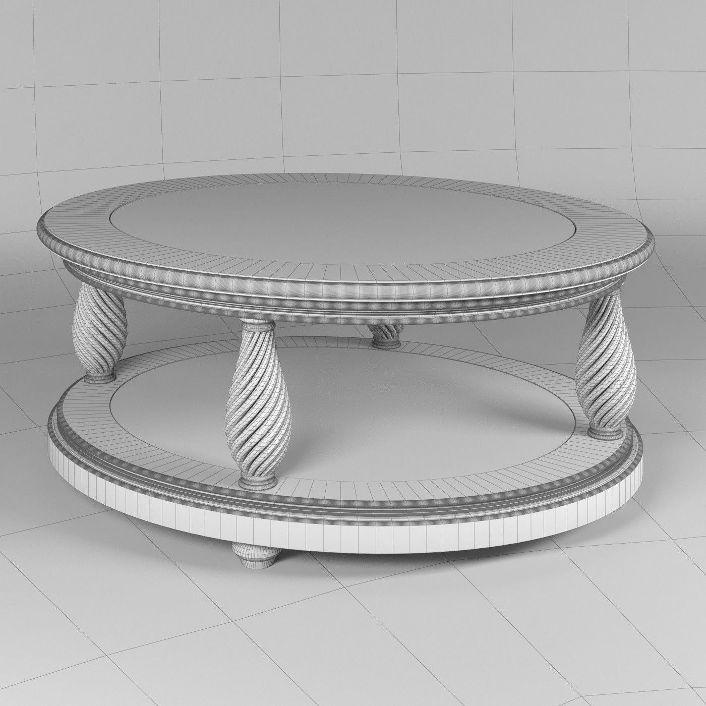 Classic oval coffee table glass top 3D model