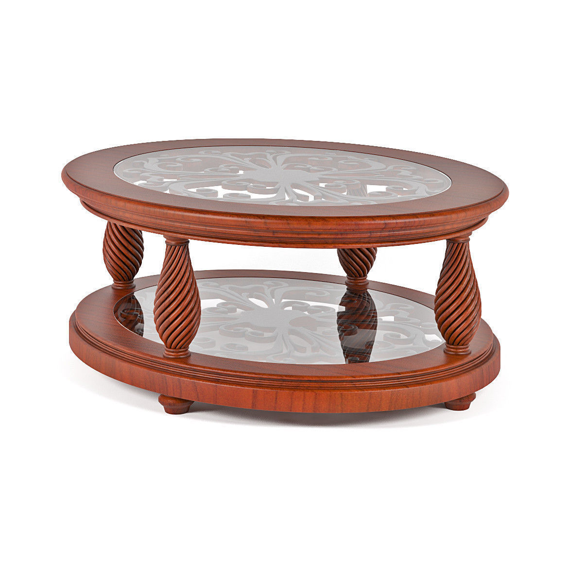 classic oval coffee table glass top 3d model cgtrader