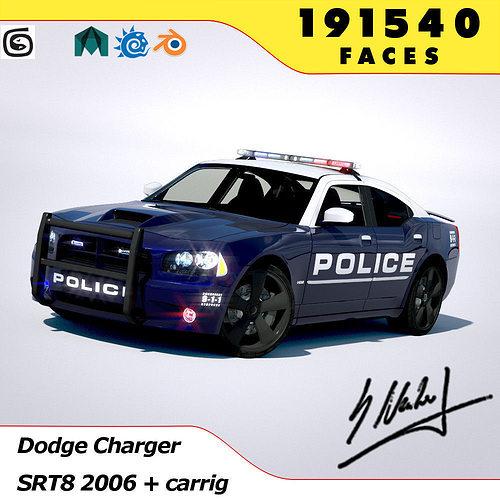 dodge charger srt8 2006 police - normal - carrig 3d model rigged obj mtl 3ds fbx lwo lw lws stl blend 1