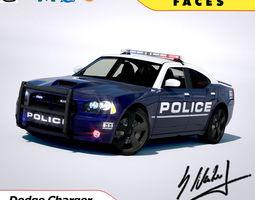 dodge charger srt8 2006 police - normal - carrig 3d model obj 3ds lwo lw lws blend