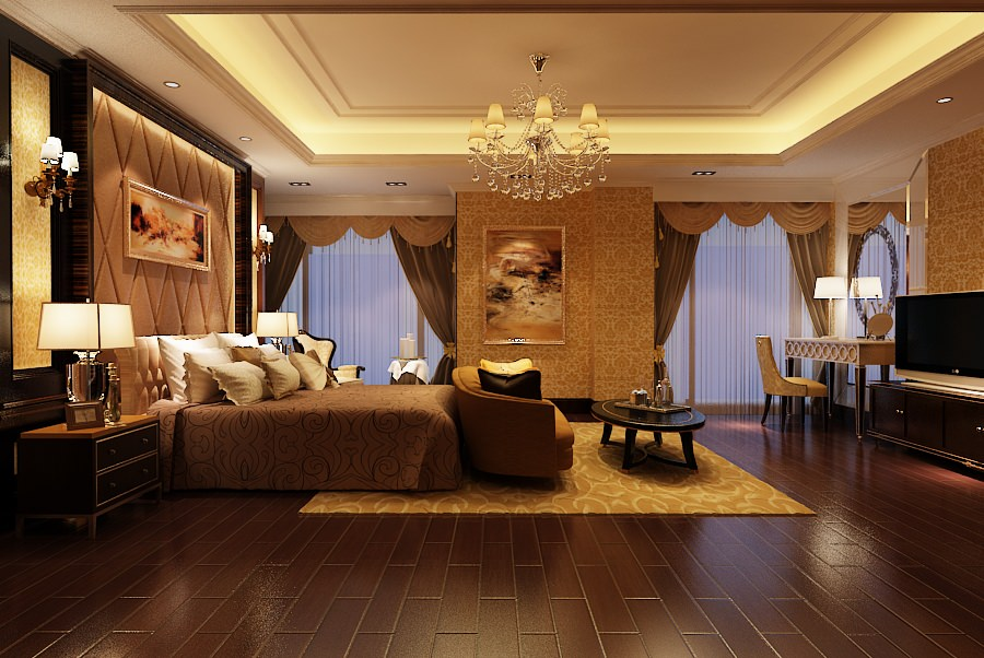 elegant master bedroom b2-c12 3d model max 1 ...