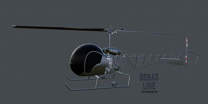 lowpoly bell h-13 sioux 3d model low-poly max obj mtl fbx ma mb tga 1