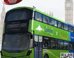 low-poly 3d asset wrightbus streetdeck coaster green livery rigged