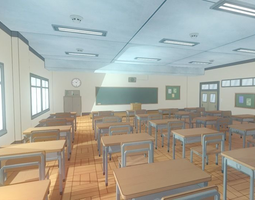 realtime 3d model anime classroom - game props