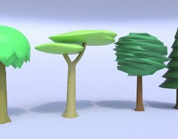 toon tree pack low-poly 3d model