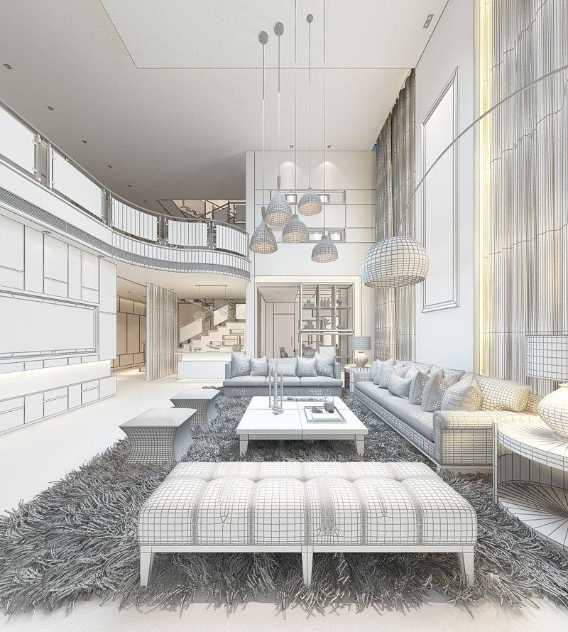 Realistic Living Room Design 008 3d Model Max