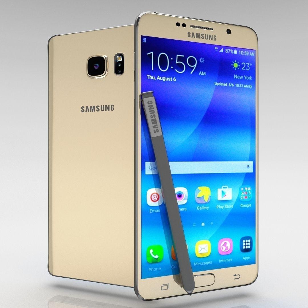 3d Model Samsung Galaxy Note 5 Gold Platinum Cgtrader
