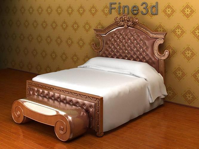 bed ornate antique 08-033-bed 3d model max obj 3ds 1