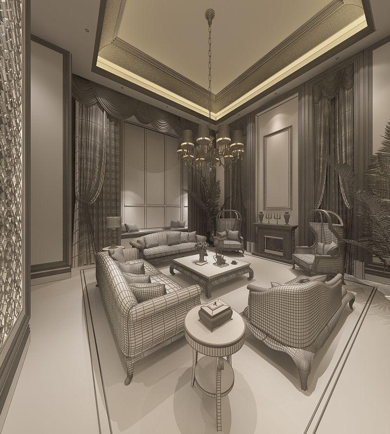 Realistic Living Room Design 016 3d Model Max