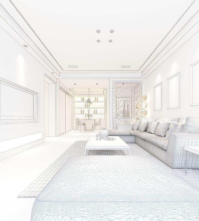 Realistic Living Room Design 026 3d Model Max