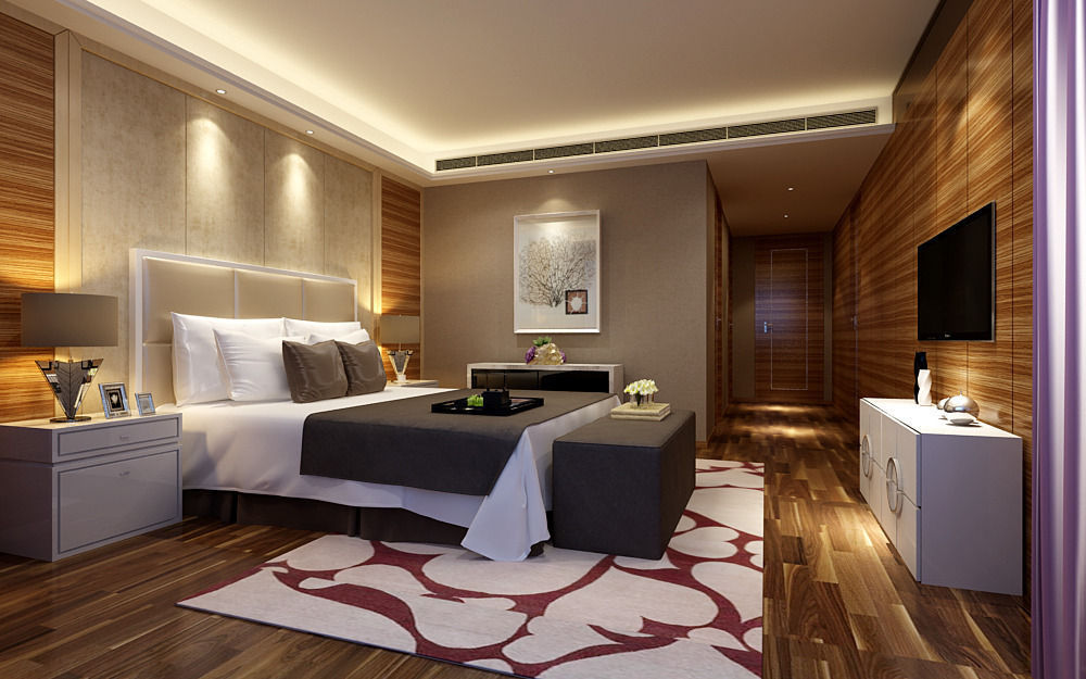 Lovely Realistic Hotel Room Design 051 3d Model Max 1 ...