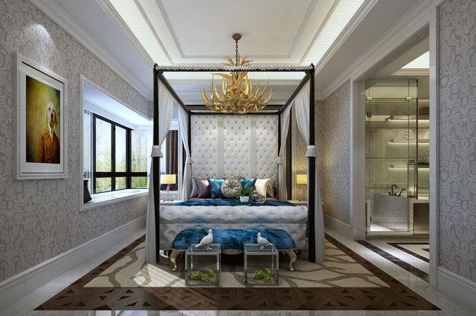 Realistic bedroom design suite 3d model cgtrader for Bedroom designs 3d model