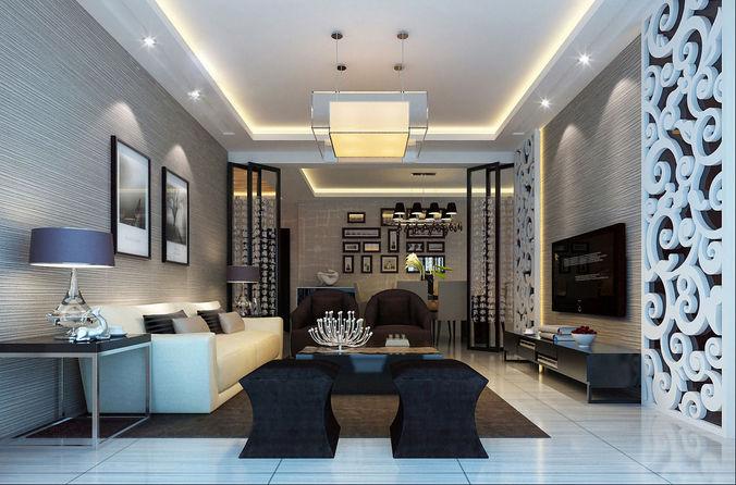 Unique realistic living room design 3d model cgtrader for Realistic living room ideas
