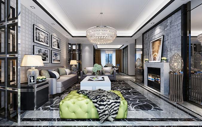 3d model luxury room realistic living room design for Realistic living room ideas