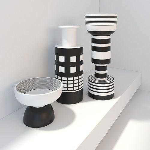 Bitossi Modern Vases Black And White Decor Model