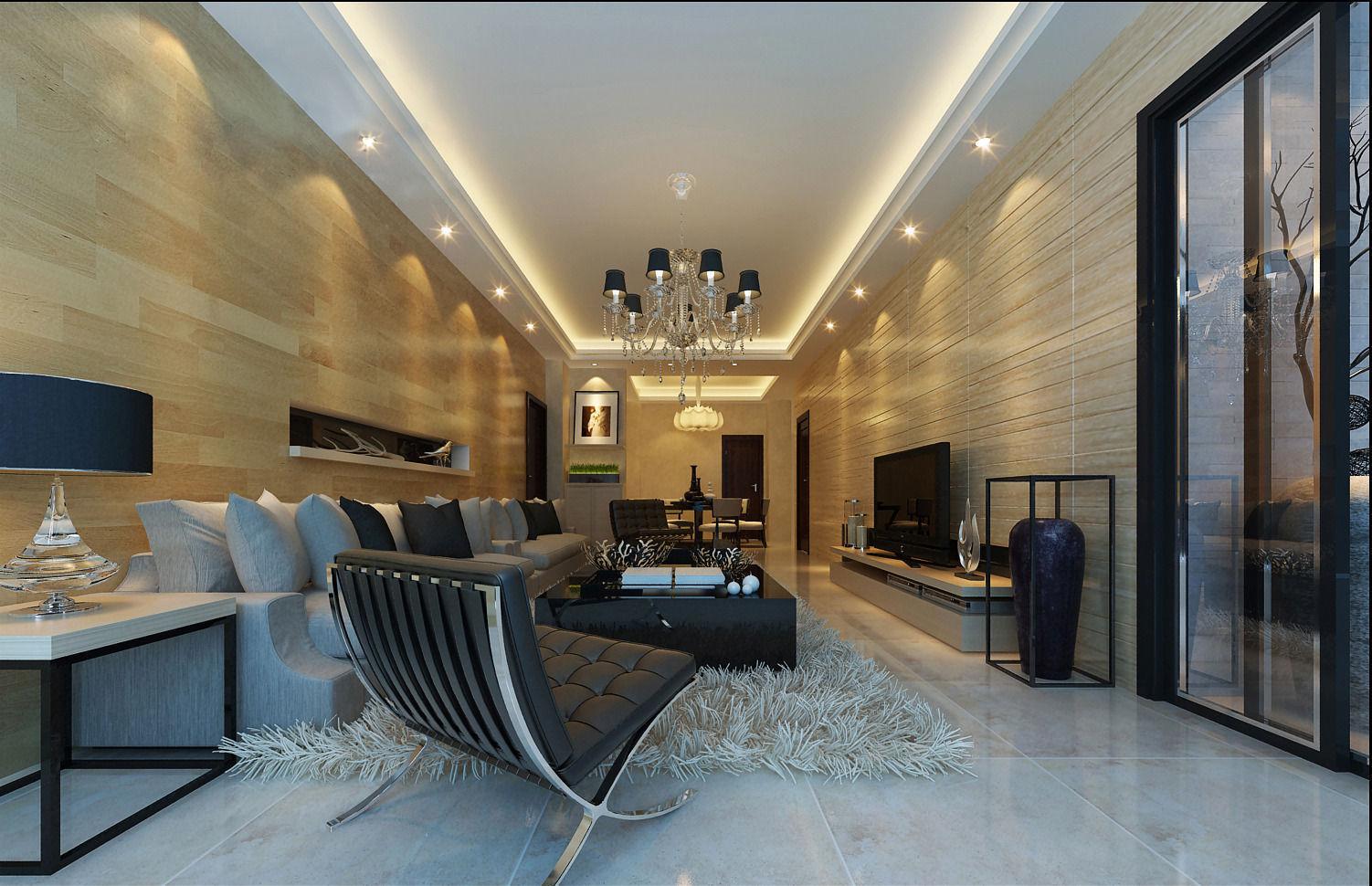 Realistic Living Room Design 055 3d Model Max