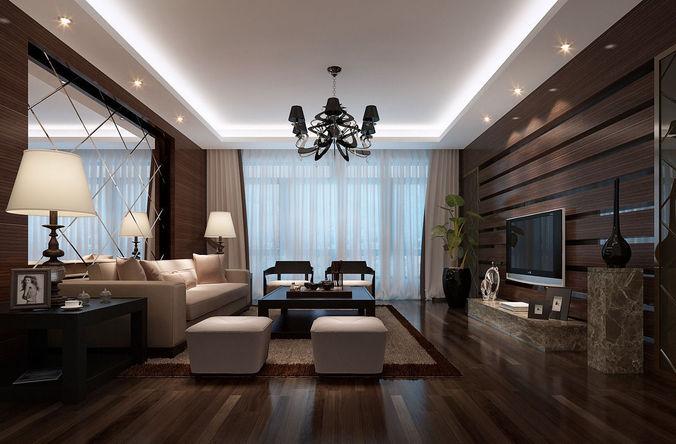 Room hotel realistic living room design 3d model cgtrader for Realistic living room ideas