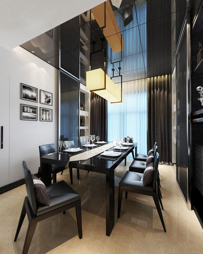 Realistic dining room design 010 3d model max for Dining room 3d max model