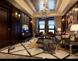 3d model realistic living room design 029