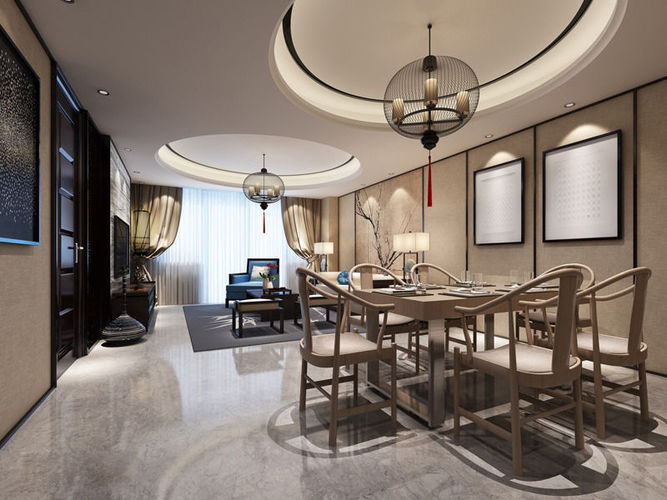 Realistic dining room design 011 3d model max for Dining room 3d max model