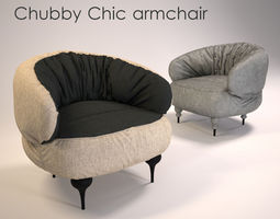 3d model chubby chic armchair