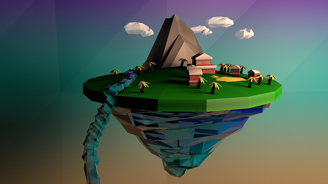 low poly floating island 3d model low-poly c4d 1