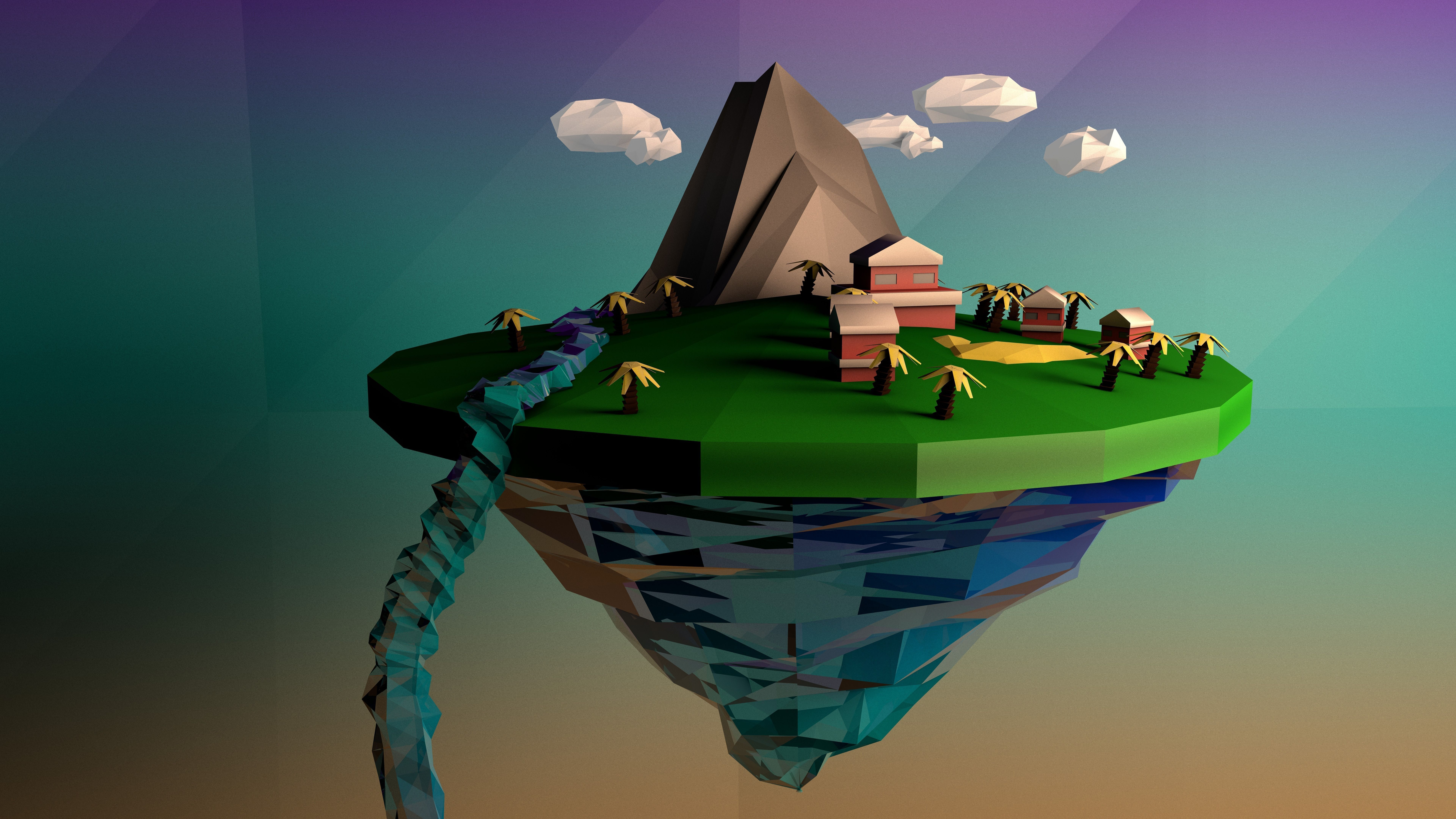 Low Poly Floating Island | 3D model