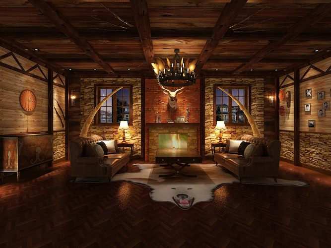 3d Hunting Lodge Interior Living Room Cgtrader
