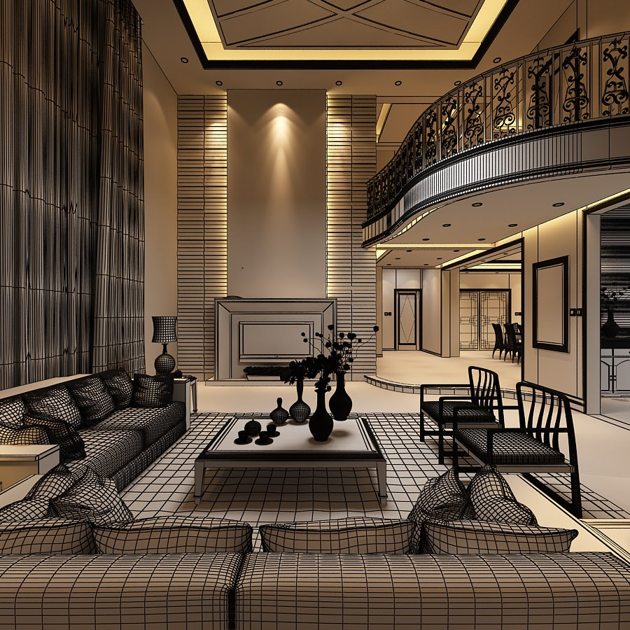 3D model Elegant Living Room with Balcony CGTrader