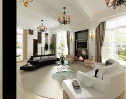 Oval Living Room 3D model