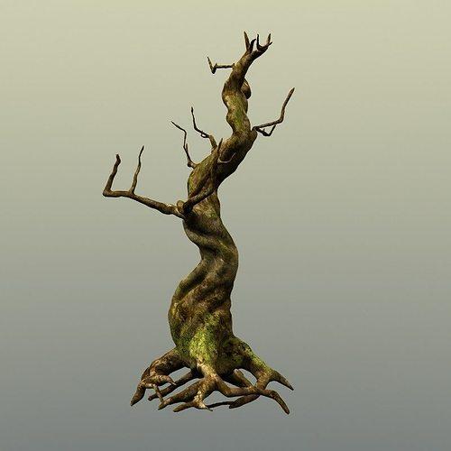 crooked mossy tree 3d model max obj fbx lwo lw lws ma mb hrc xsi 1