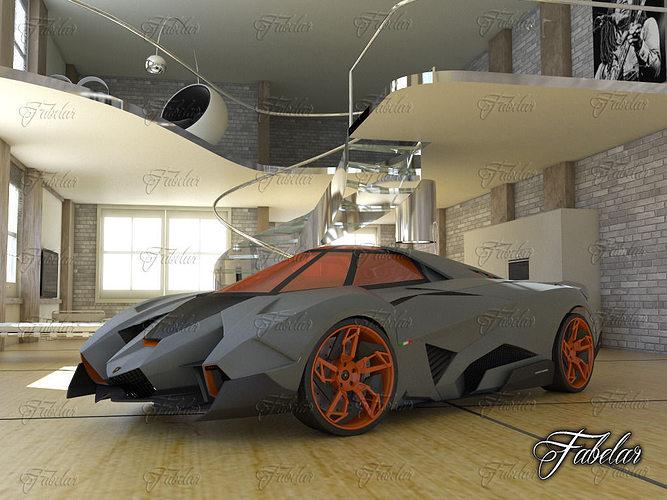 Lamborghini Egoista And Environment 3d Model Cgtrader