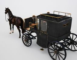 3d model low-poly brougham with horse low poly