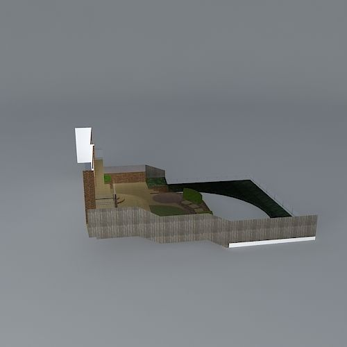 Terraced garden design for steeply sloping free 3d for Garden design in 3ds max