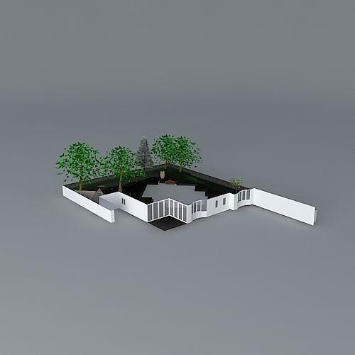 Sunken Garden Design 3d Model Cgtrader