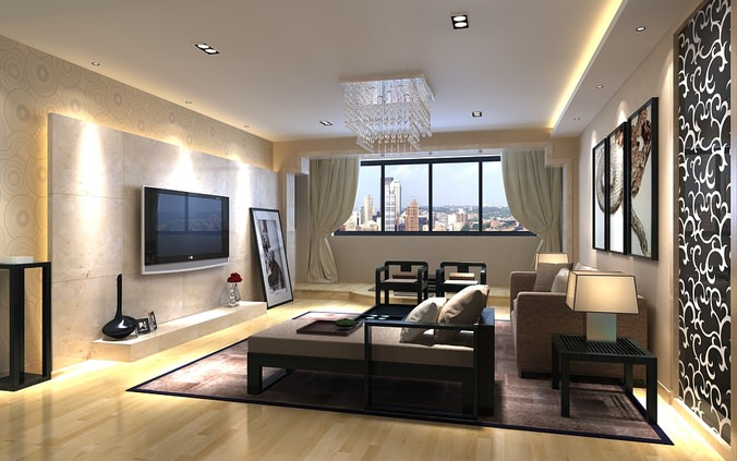 Photorealistic living room with city view 3d model max for Living room 3d view