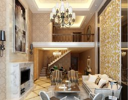 3d photorealistic luxurious loft-type living room