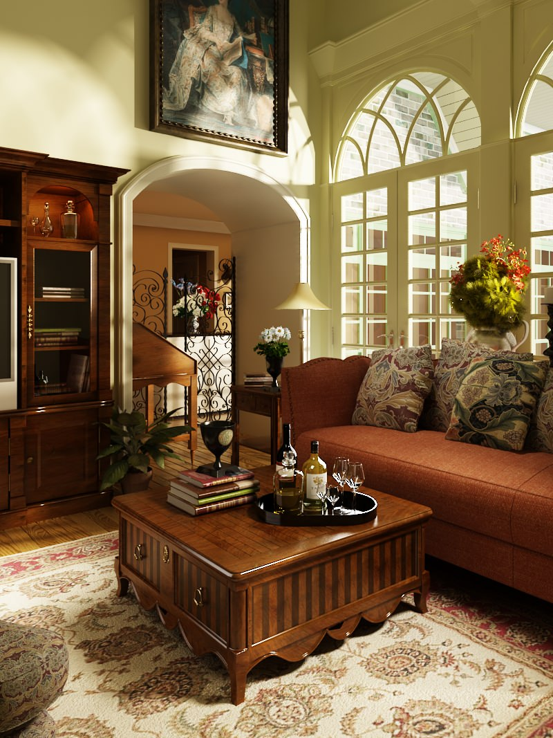 Photorealistic Old-fashioned Living Room 3D model MAX