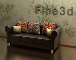 floral 3D Leather Couch With Cushions