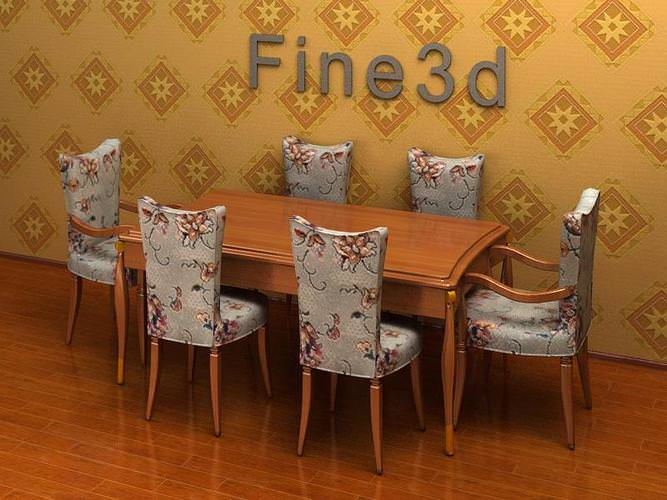 3d model dining table set cgtrader for Dining room table 3ds max