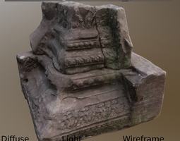 3d asset pillar base asymmetric ancient game-ready