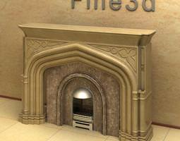 Fire Place with Marble Details 3D model