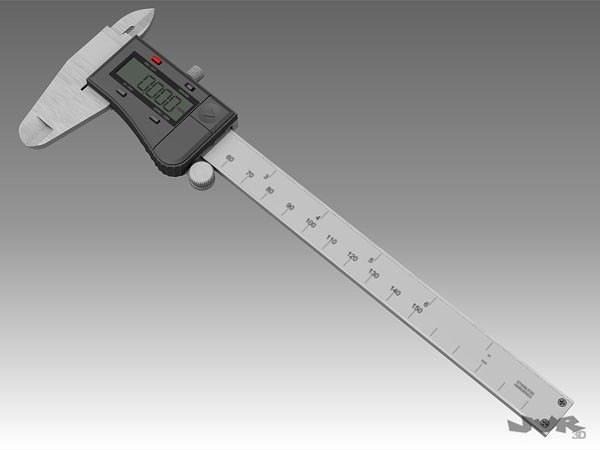digital caliper 3d model max obj mtl 3ds fbx pdf 1
